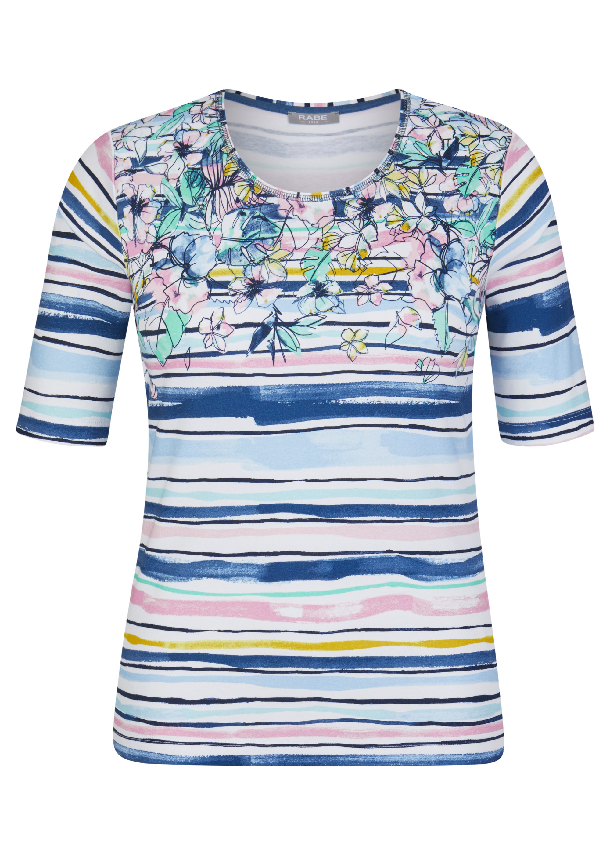 Rabe halbarm Shirt blau gestrieft