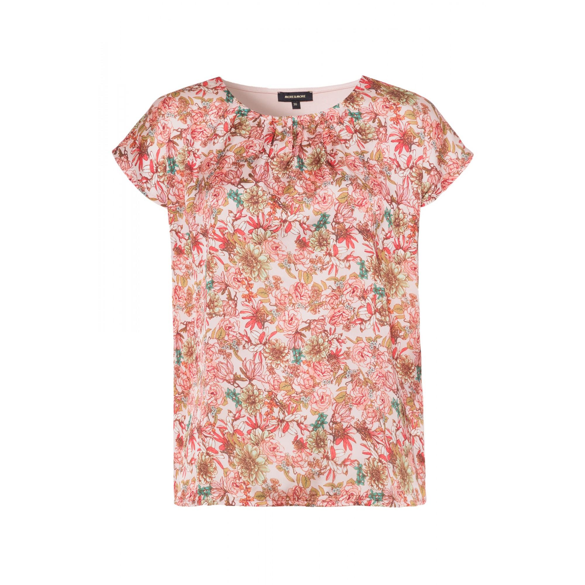 More & More kurzarm Shirt mit floralem Muster orange