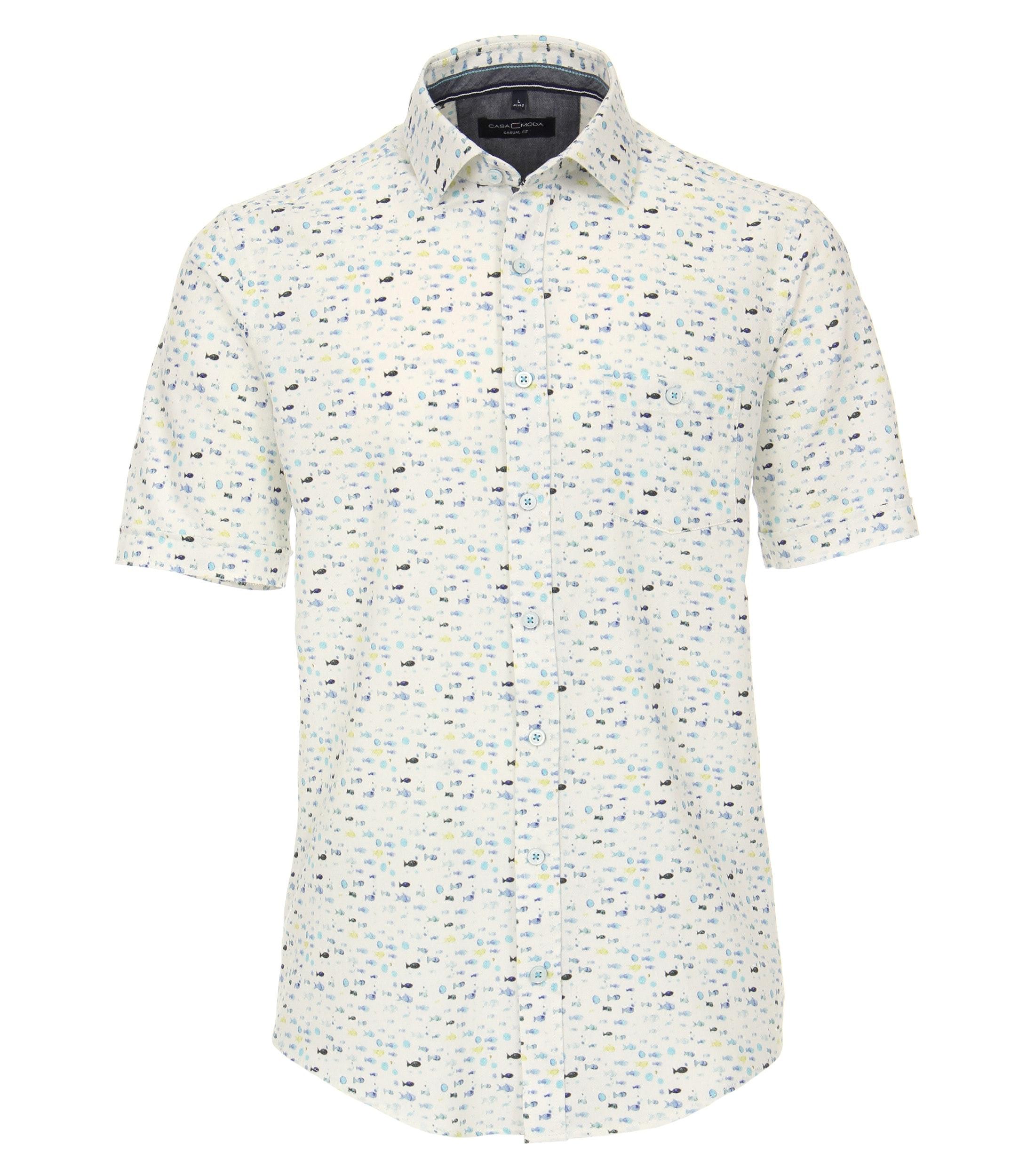 CasaModa halbarm Hemd aus Baumwolle gemustert blau