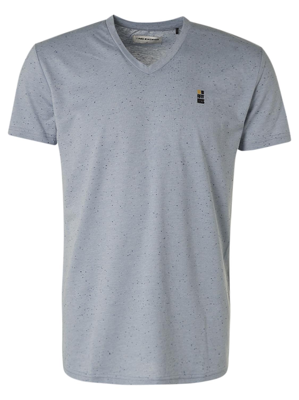 No Excess kurzarm Shirt mit V-Ausschnitt blau