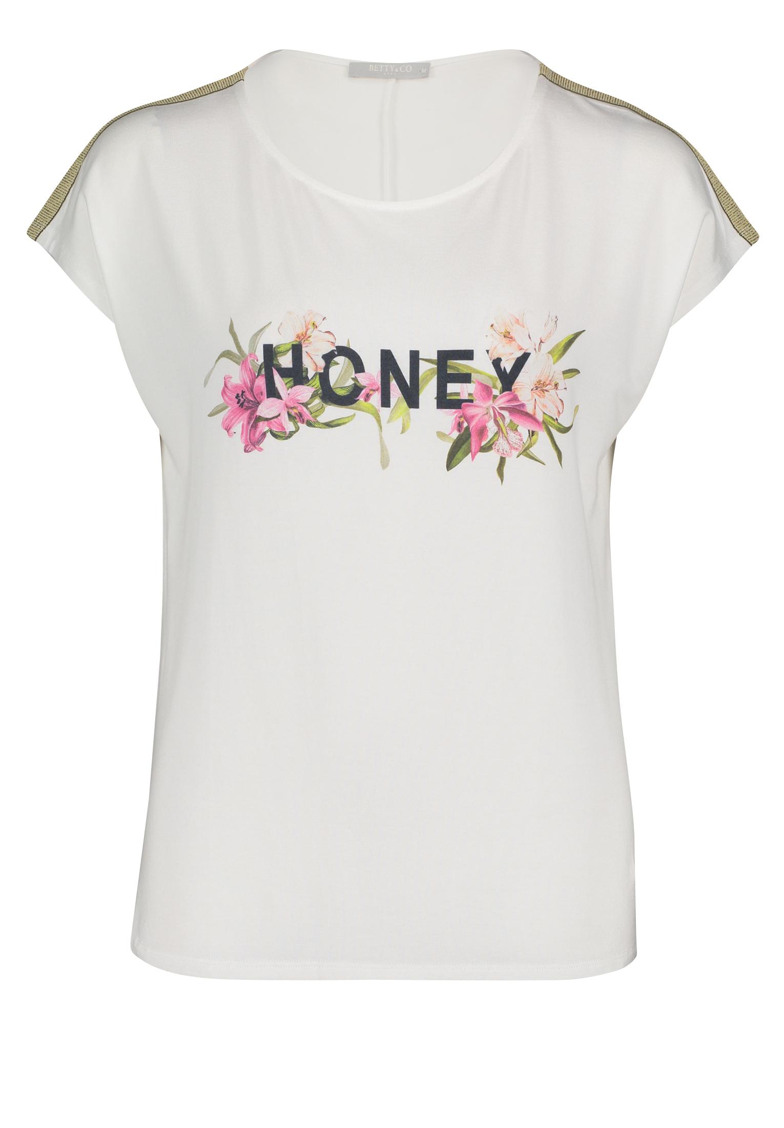Betty & Co. kurzarm Shirt mit Aufschrift weiß