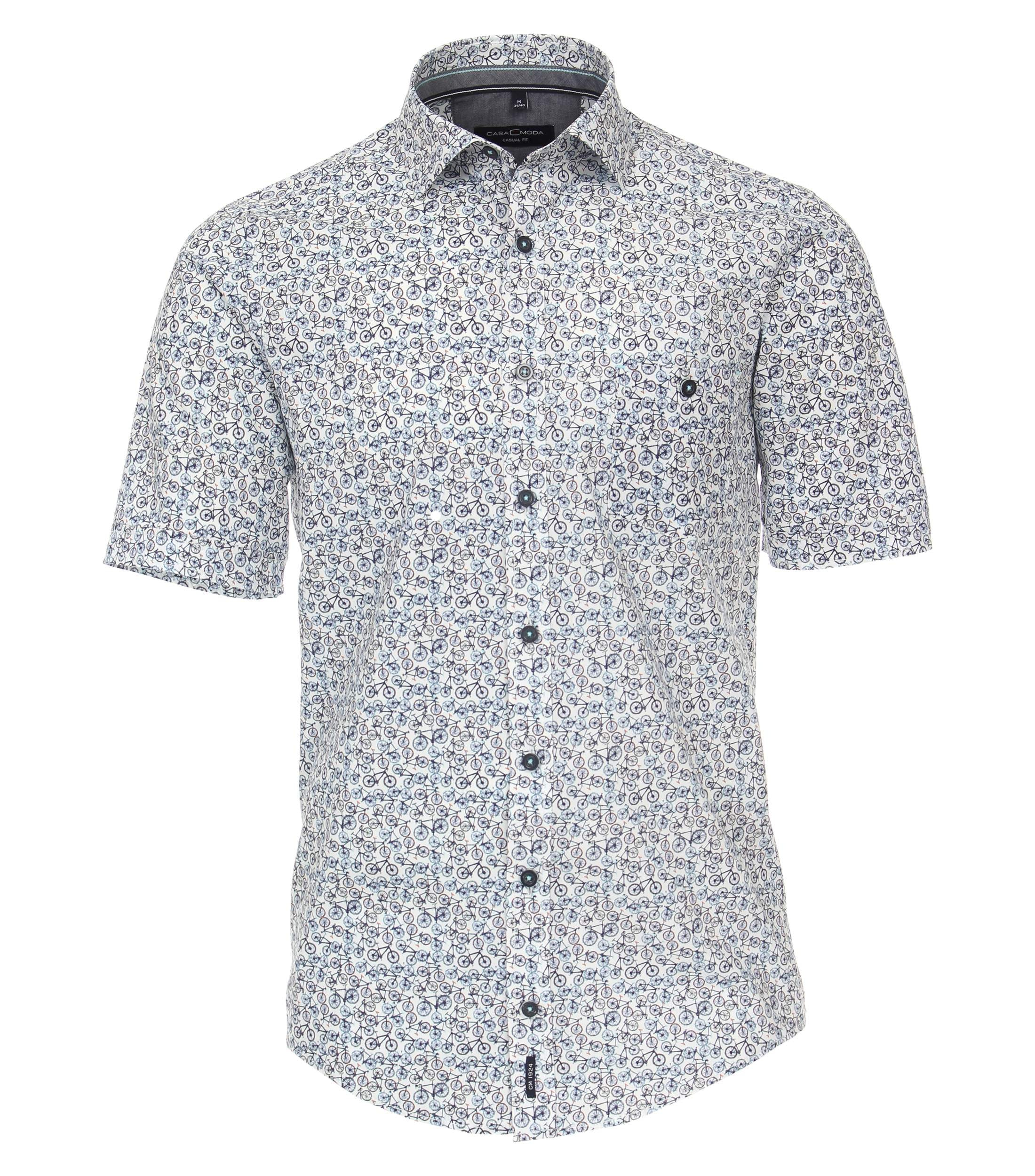 CasaModa kurzarm Popeline Hemd gemustert blau