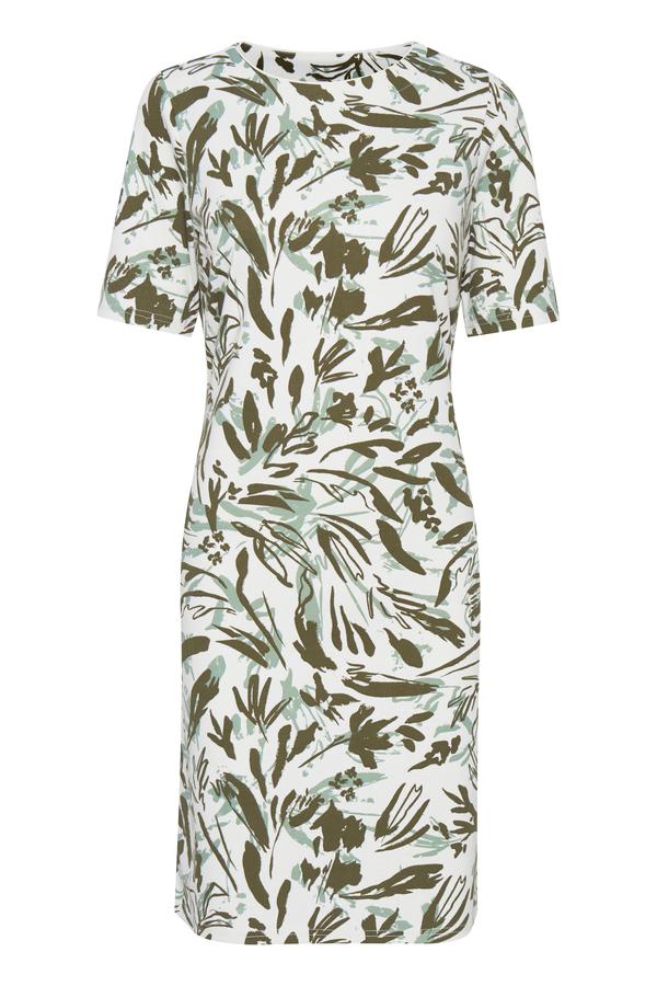Fransa Kleid mittellang bedruckt weiß