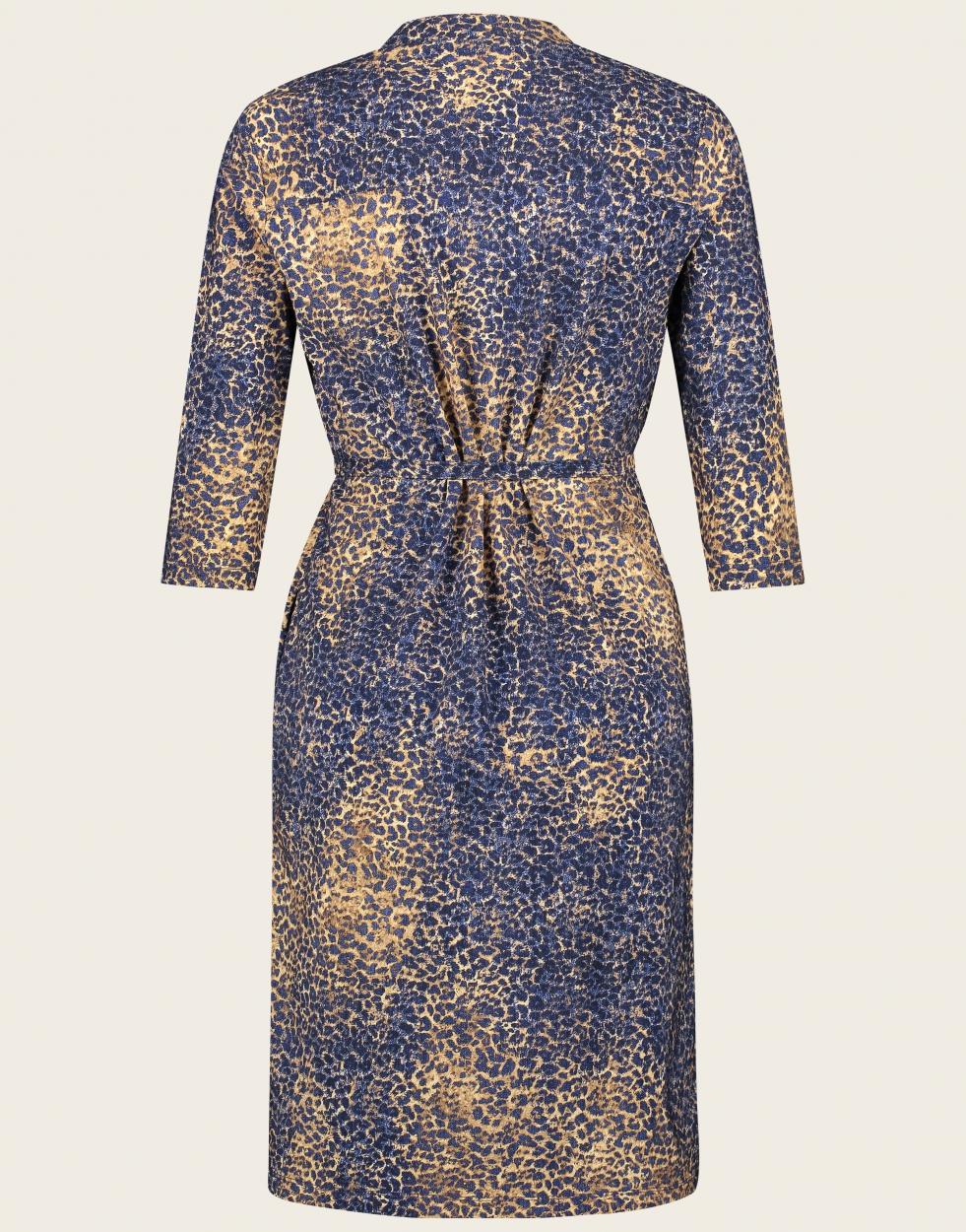 Jane Lushka Kleid mittellang mit Leopardenmuster blau