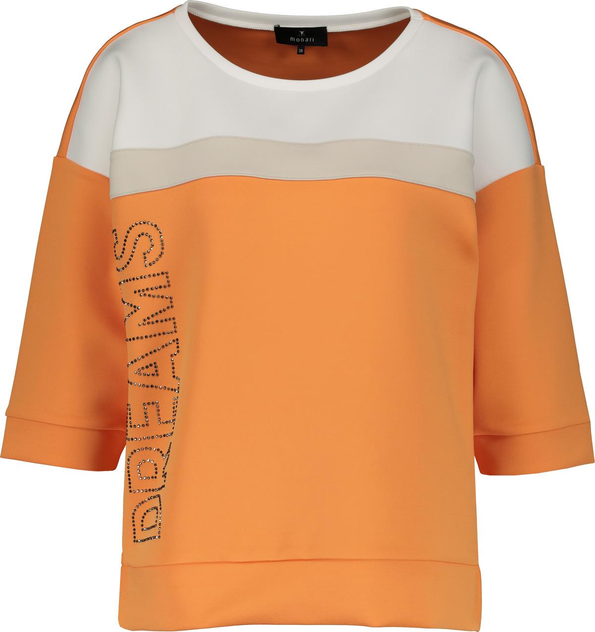 Monari halbarm Shirt mit Strassaufschrift orange