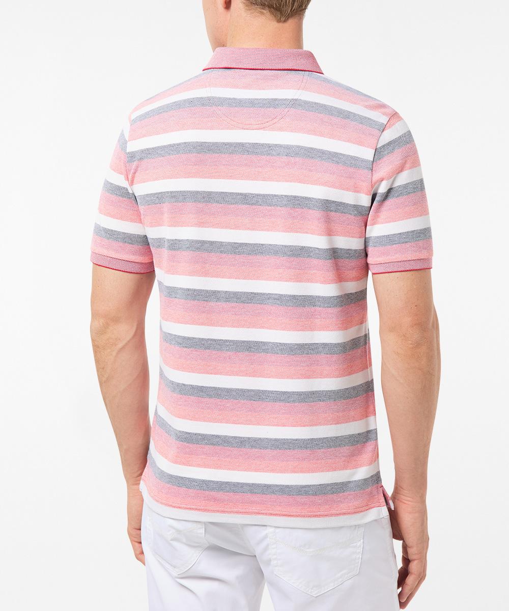 Pierre Cardin kurzarm Poloshirt aus Baumwolle rot gestreift