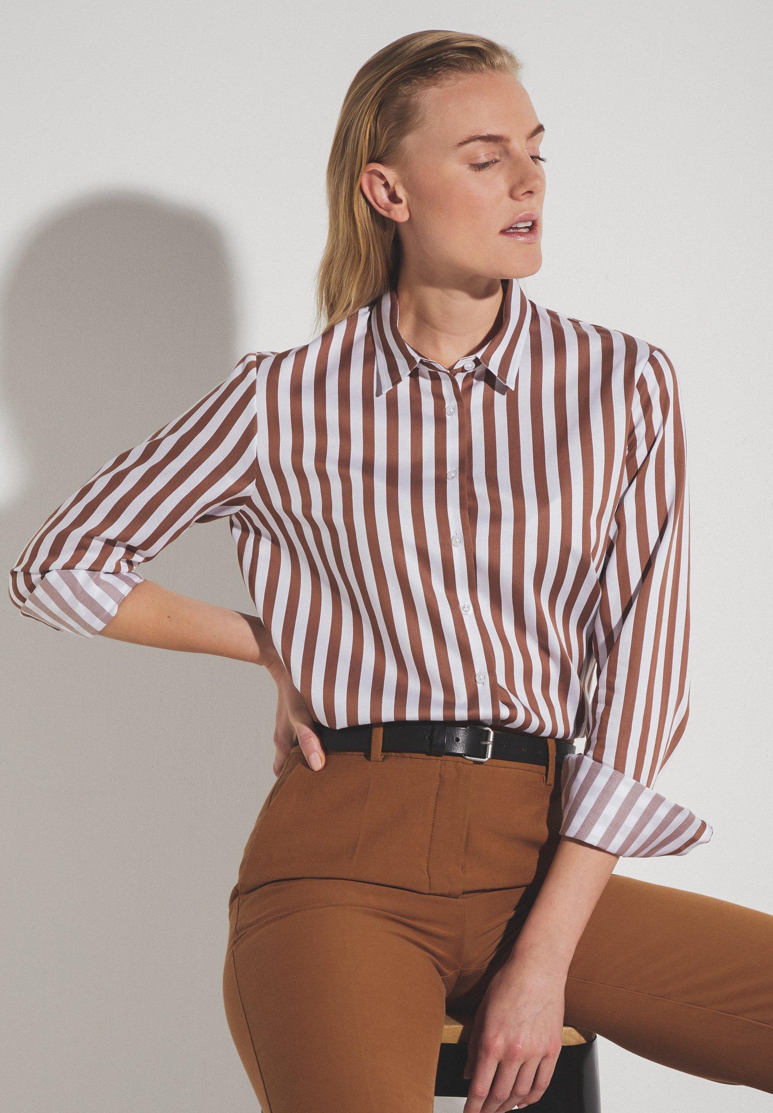 Eterna langarm Bluse aus Baumwolle braun gestreift