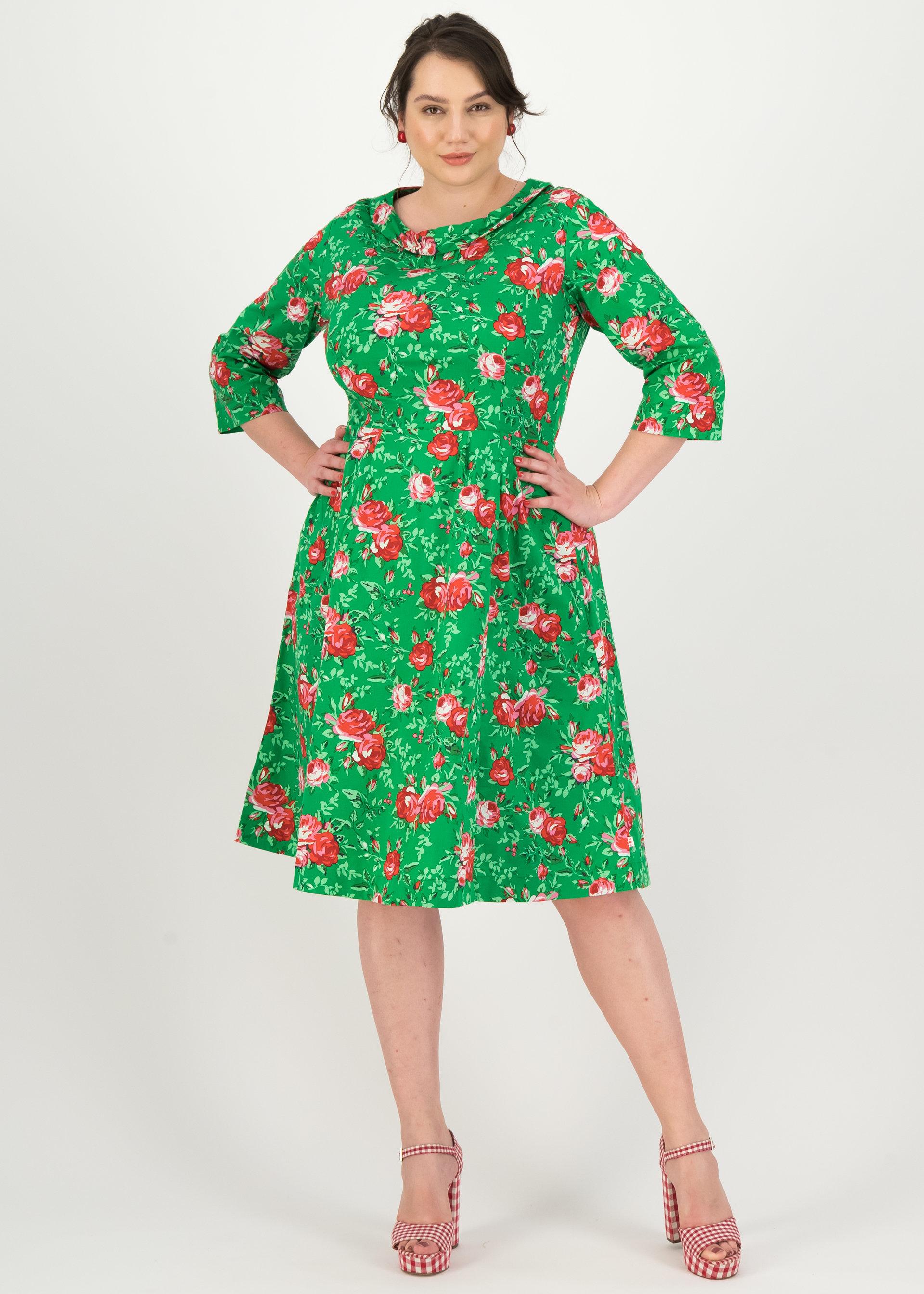 Blutsgeschwister Kleid mittellang mit floralem Muster grün