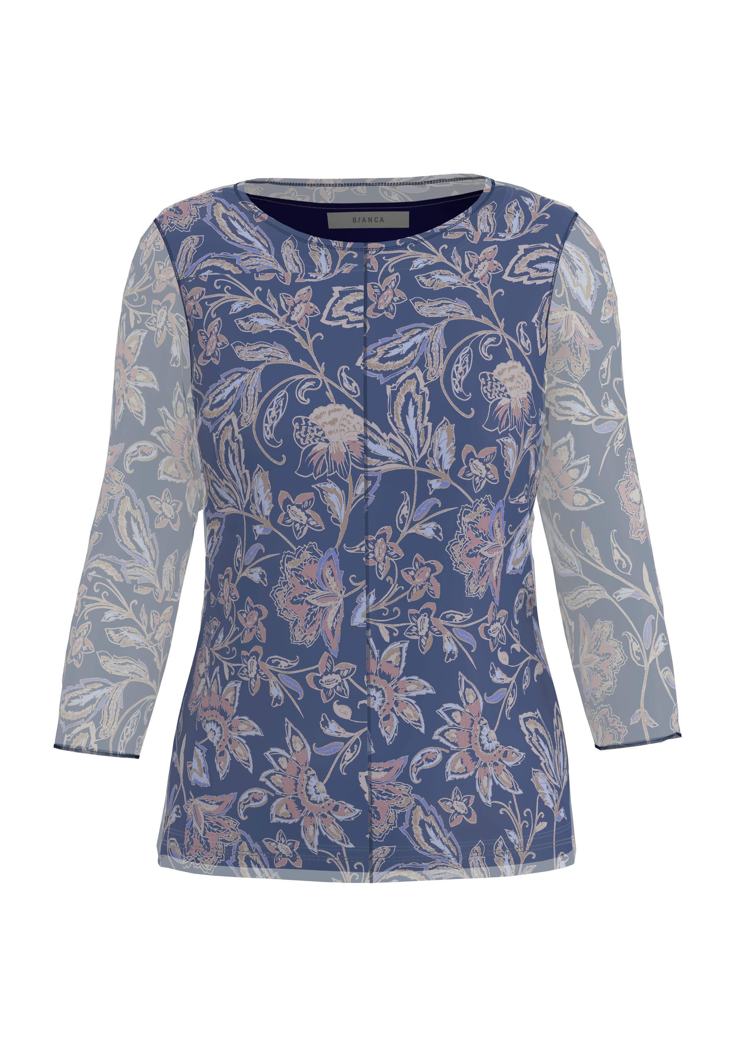 Bianca langarm Shirt mit floralem Muster blau