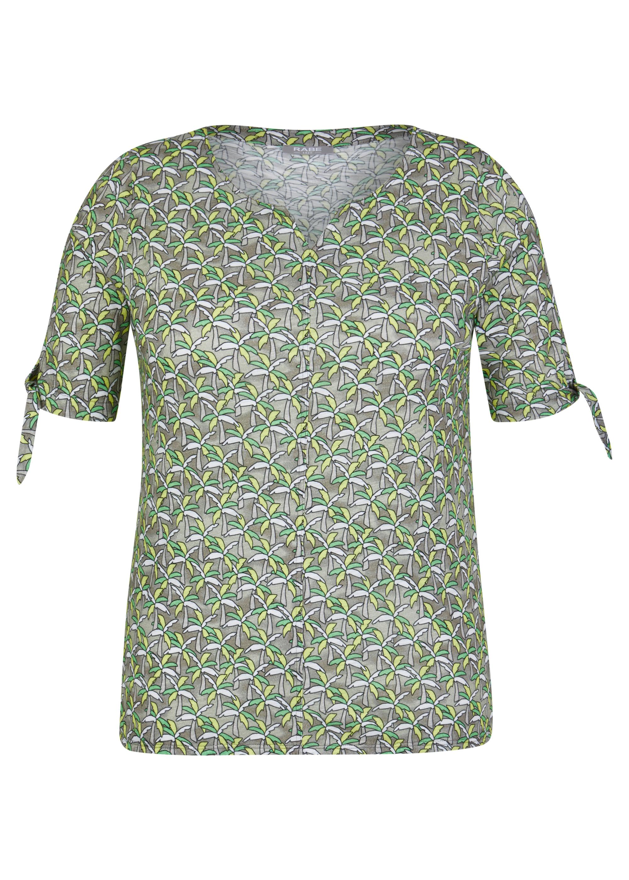Rabe halbarm Shirt gemustert hellolive