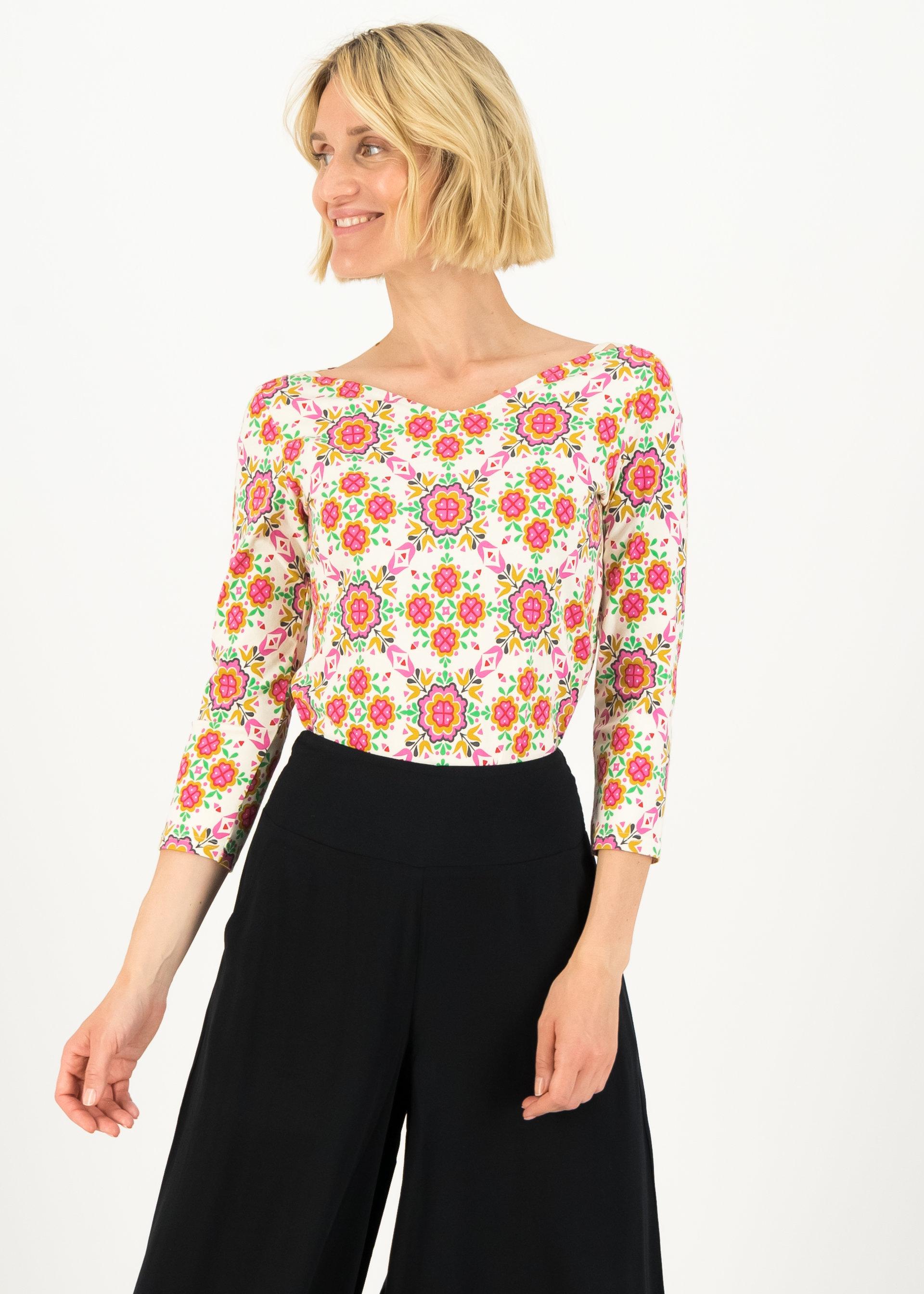 Blutsgeschwister 3/4-Arm Shirt mit floralem Muster weiß