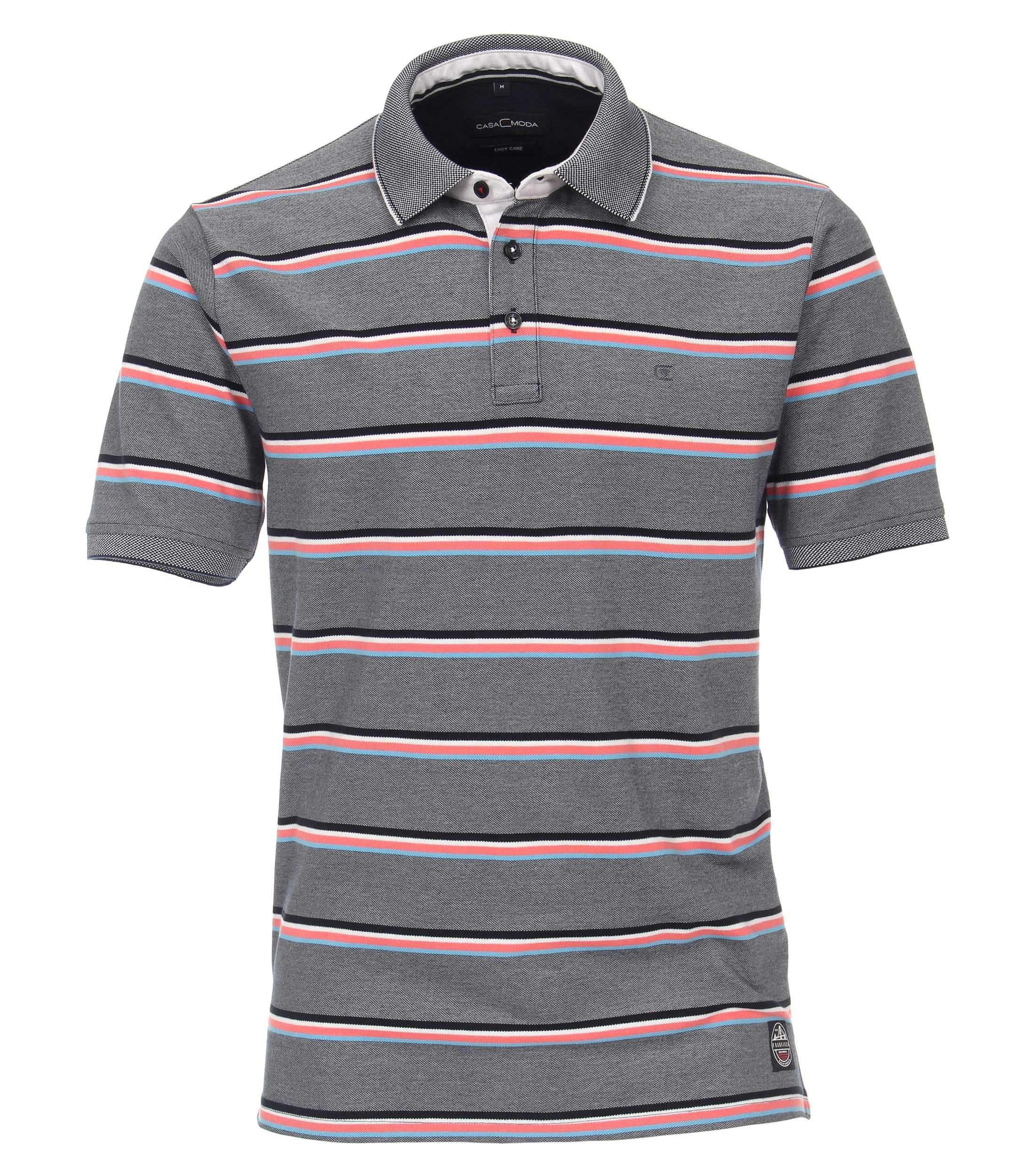 CasaModa kurzarm Polo-Shirt blau gestreift