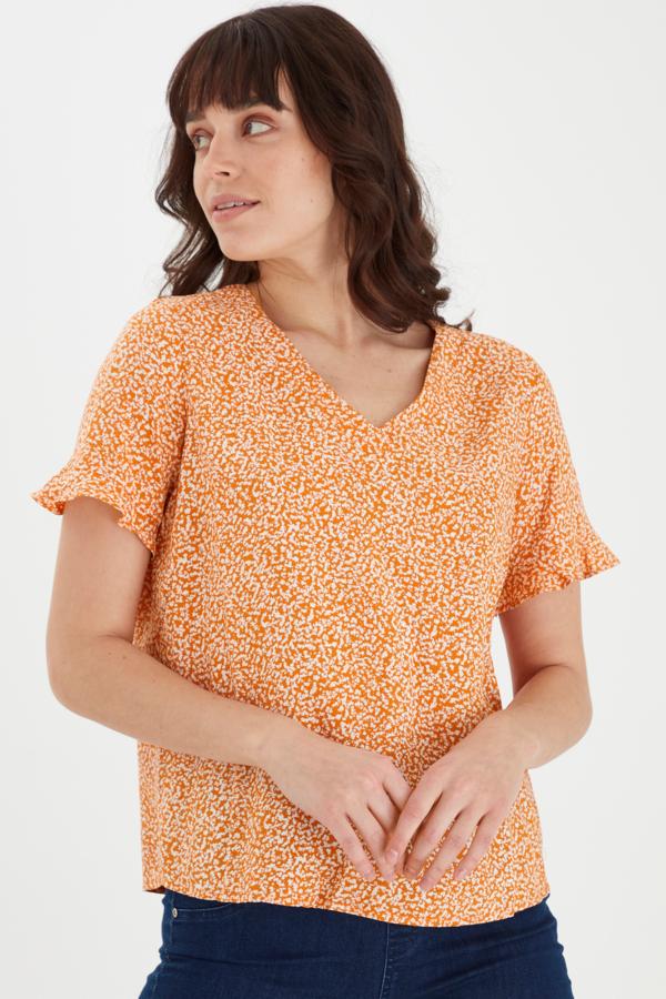 Fransa kurzarm Bluse gemustert orange