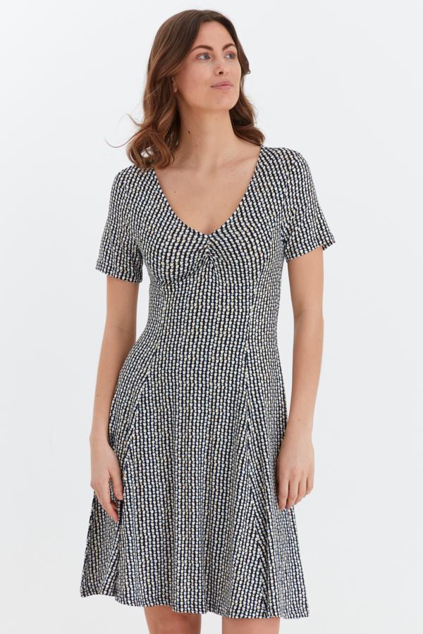 Fransa Kleid mittellang gemustert, blau