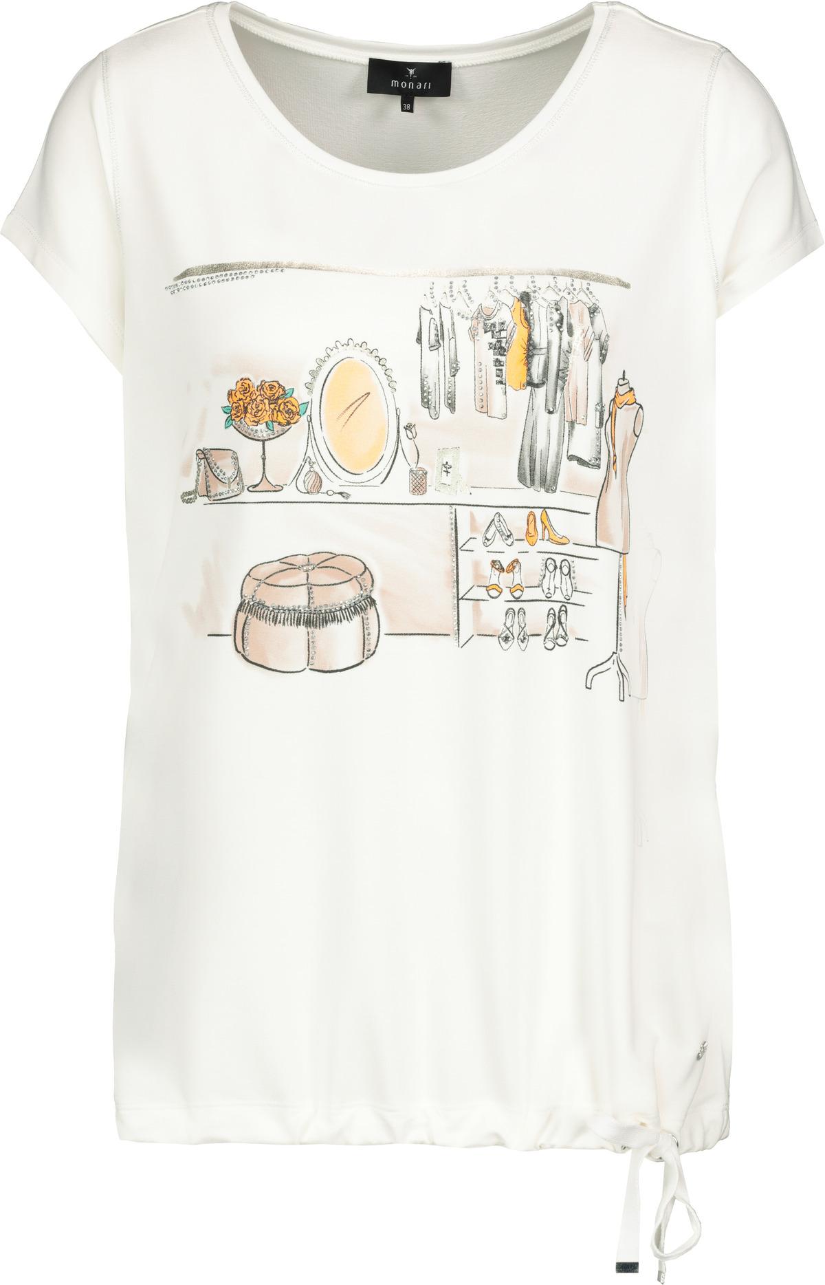 Monari kurzarm Shirt mit Aufdruck weiß