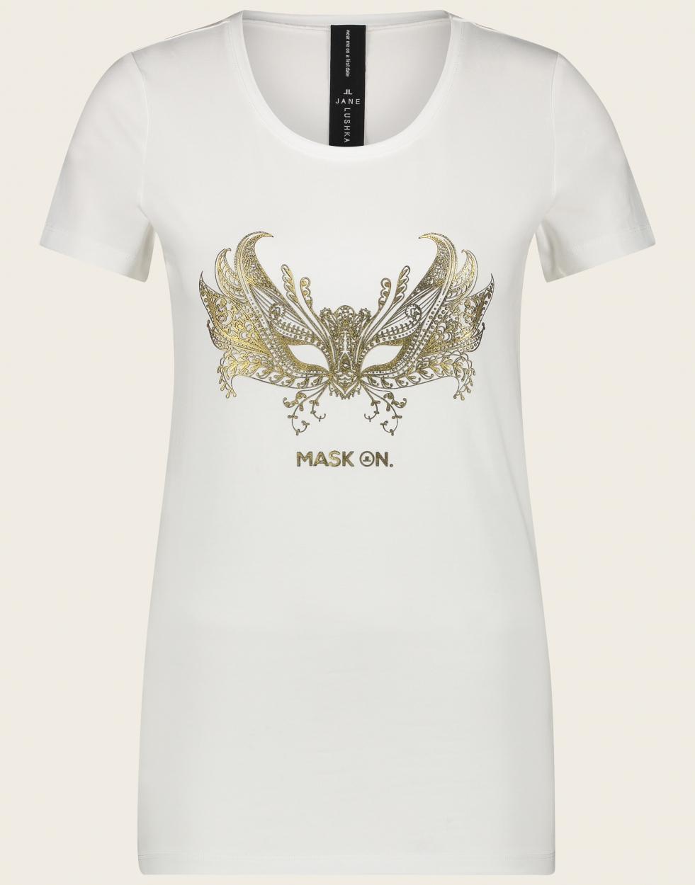 Jane Lushka langes kurzarm Shirt mit Aufdruck weiß