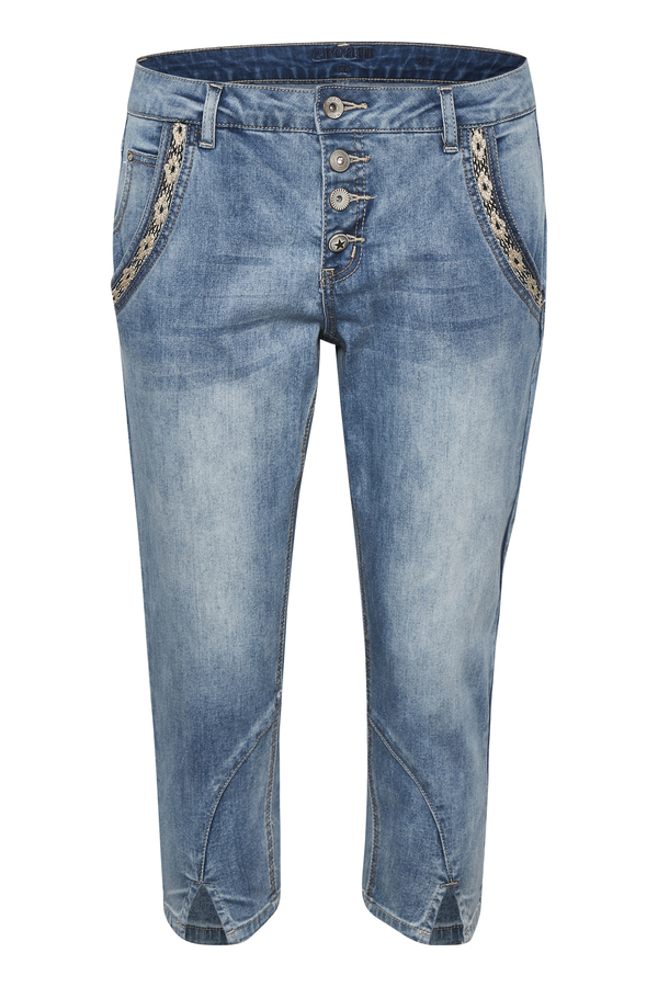 Cream Cropped Jeans blau