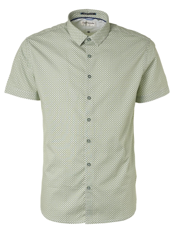 No Excess kurzarm Shirt gemustert grün