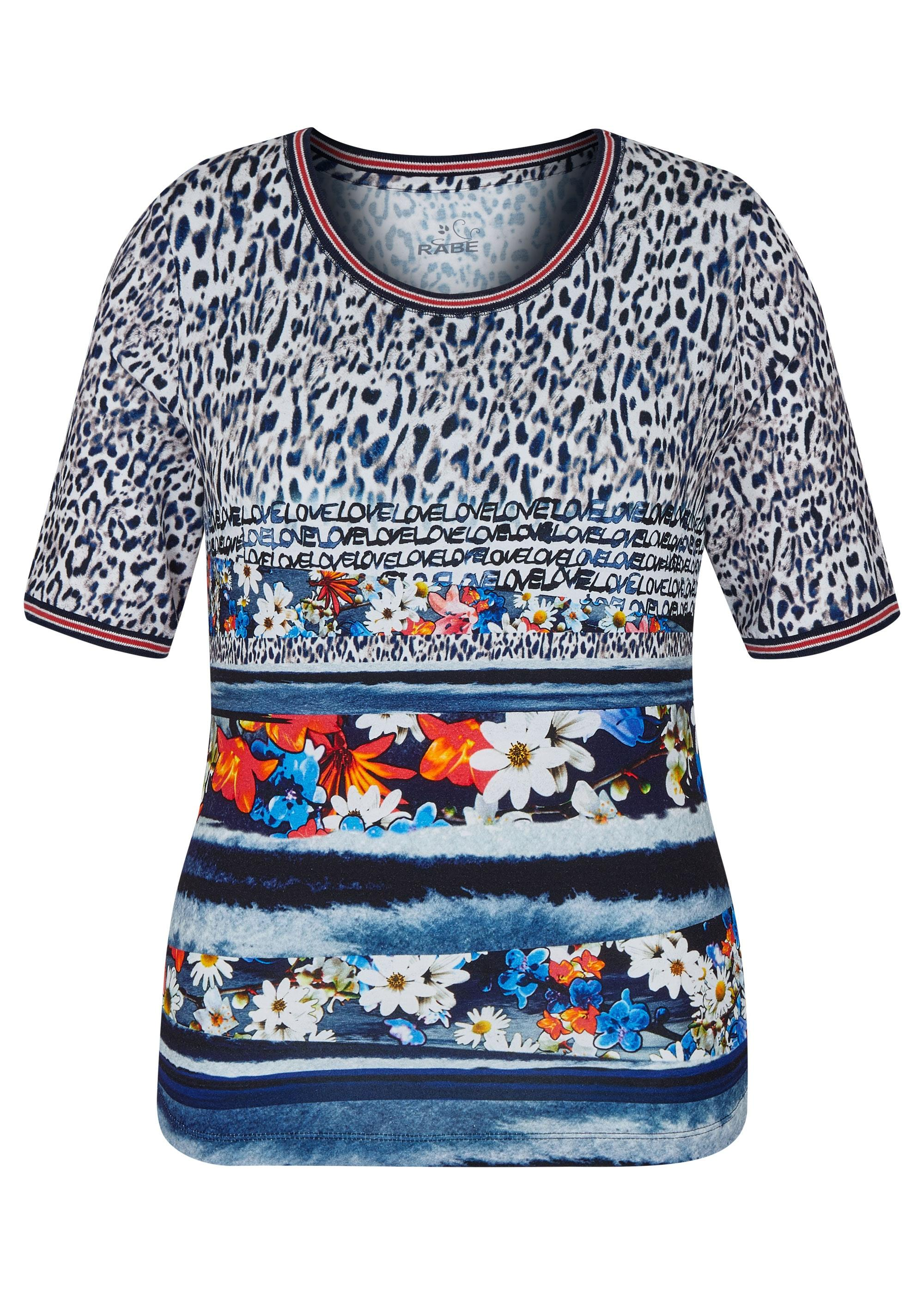 Rabe halbarm Shirt mit Allover-Muster blau