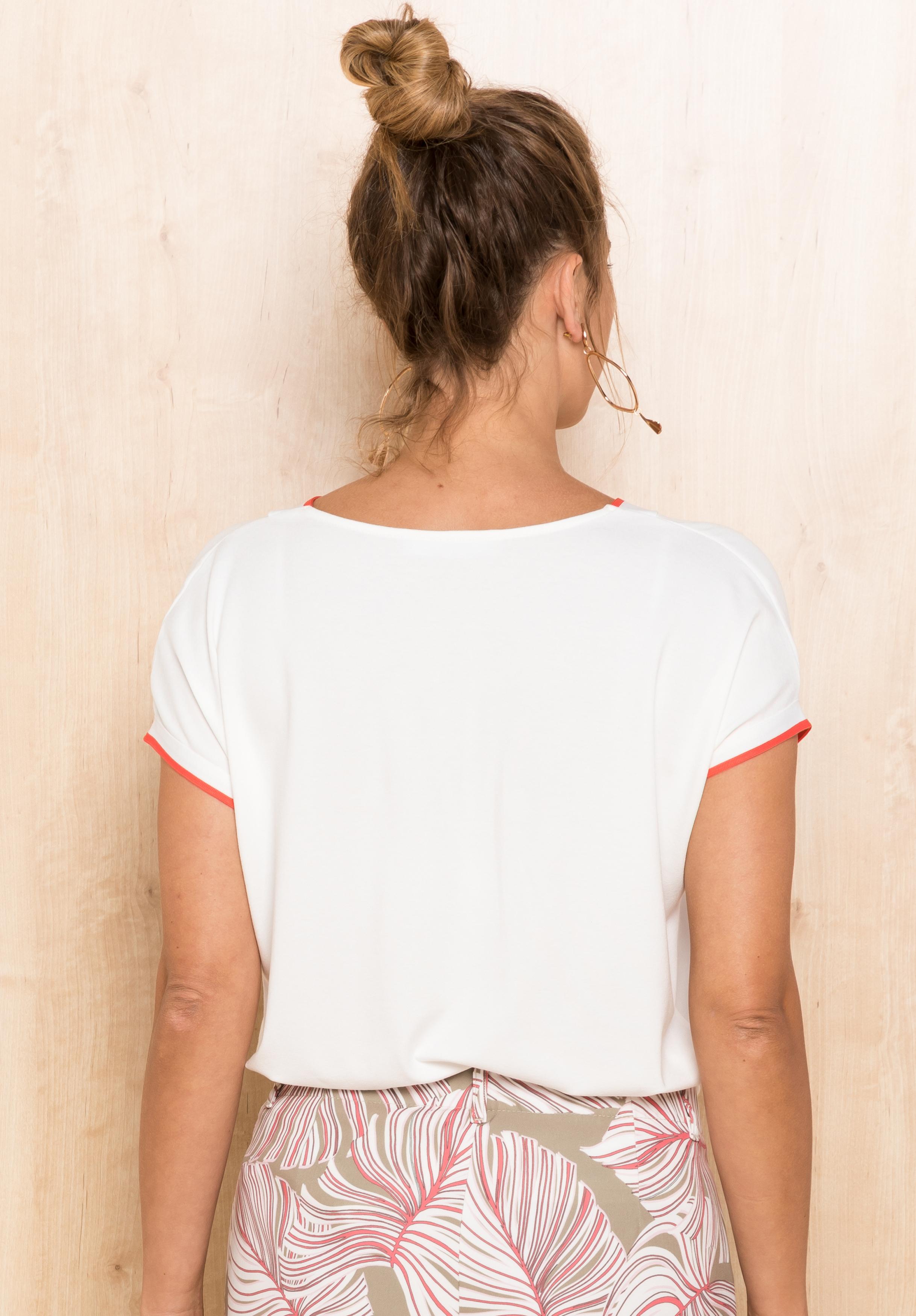 Bianca kurzarm Shirt mit Streifen weiß
