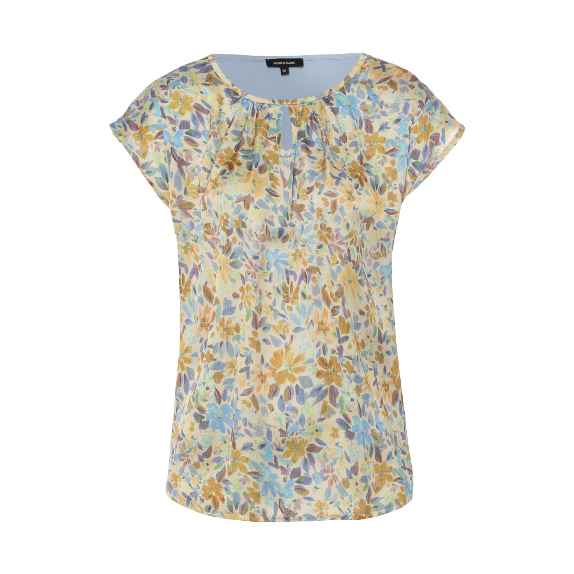 More & More kurzarm Blusenshirt mit floralem Muster beige