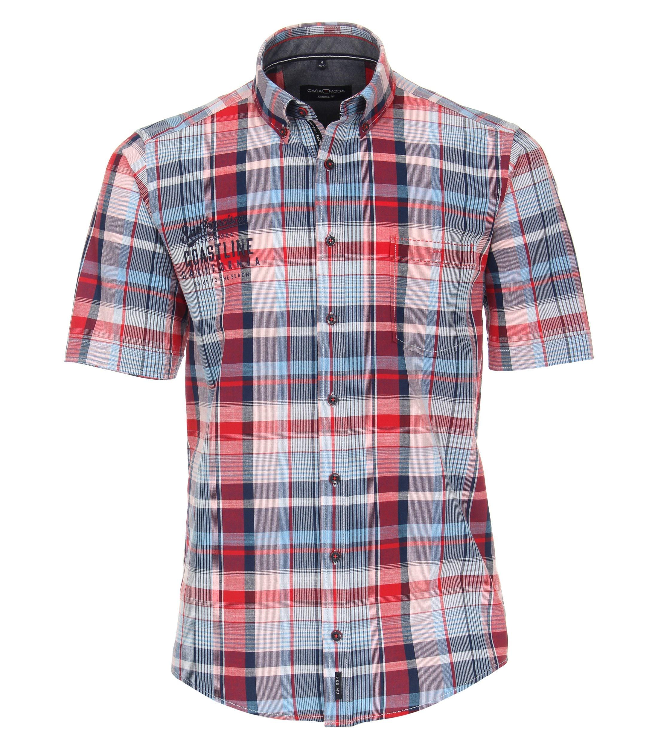 CasaModa kurzarm Freizeithemd aus Baumwolle kariert, rot