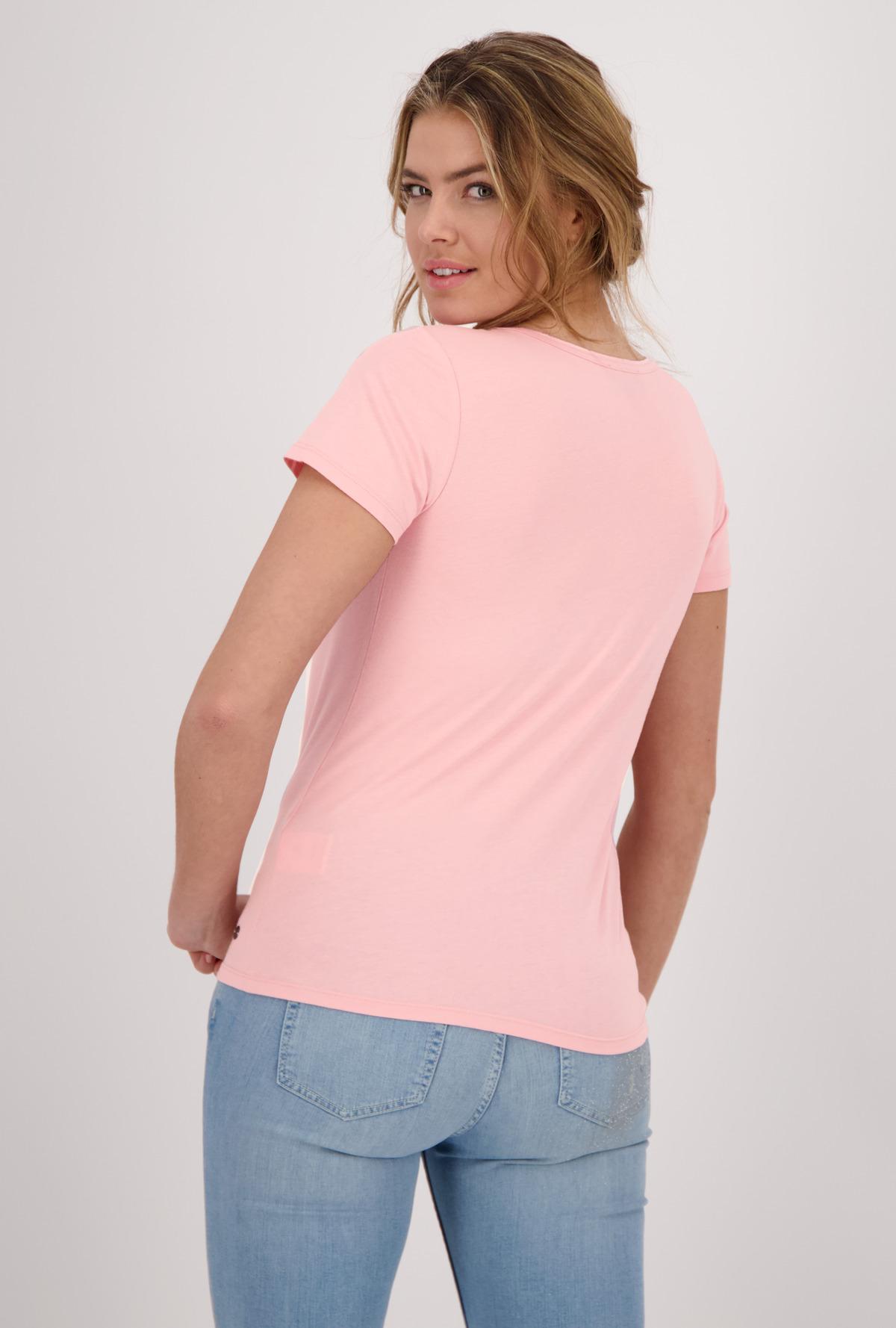 Monari kurzarm Shirt mit Aufschrift rosa