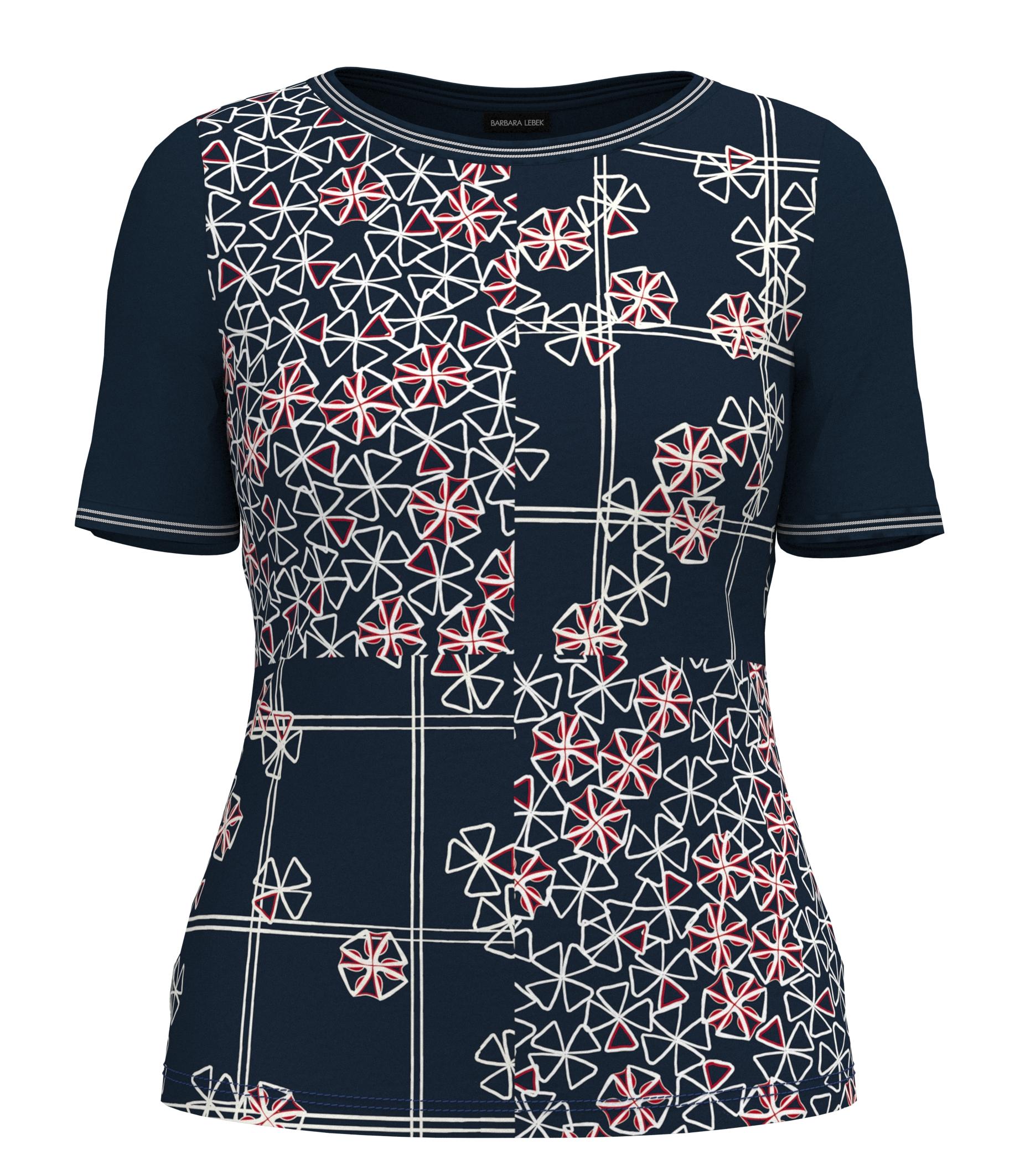 Barbara Lebek kurzarm Shirt mit floralem Muster blau
