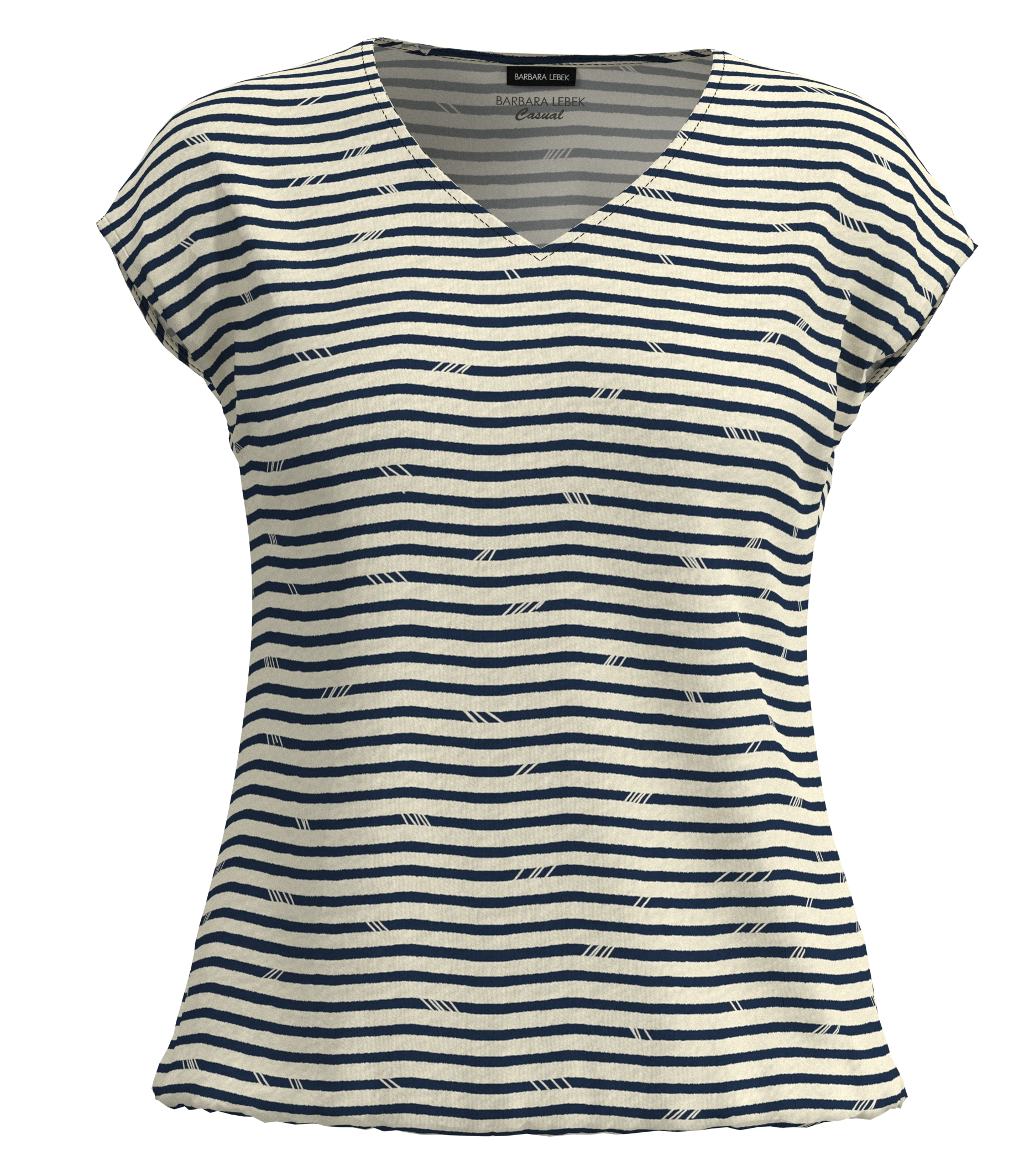 Barbara Lebek kurzarm Shirt blau gestreift