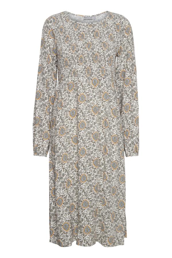 Fransa langarm Kleid mittellang mit floralem Muster grün