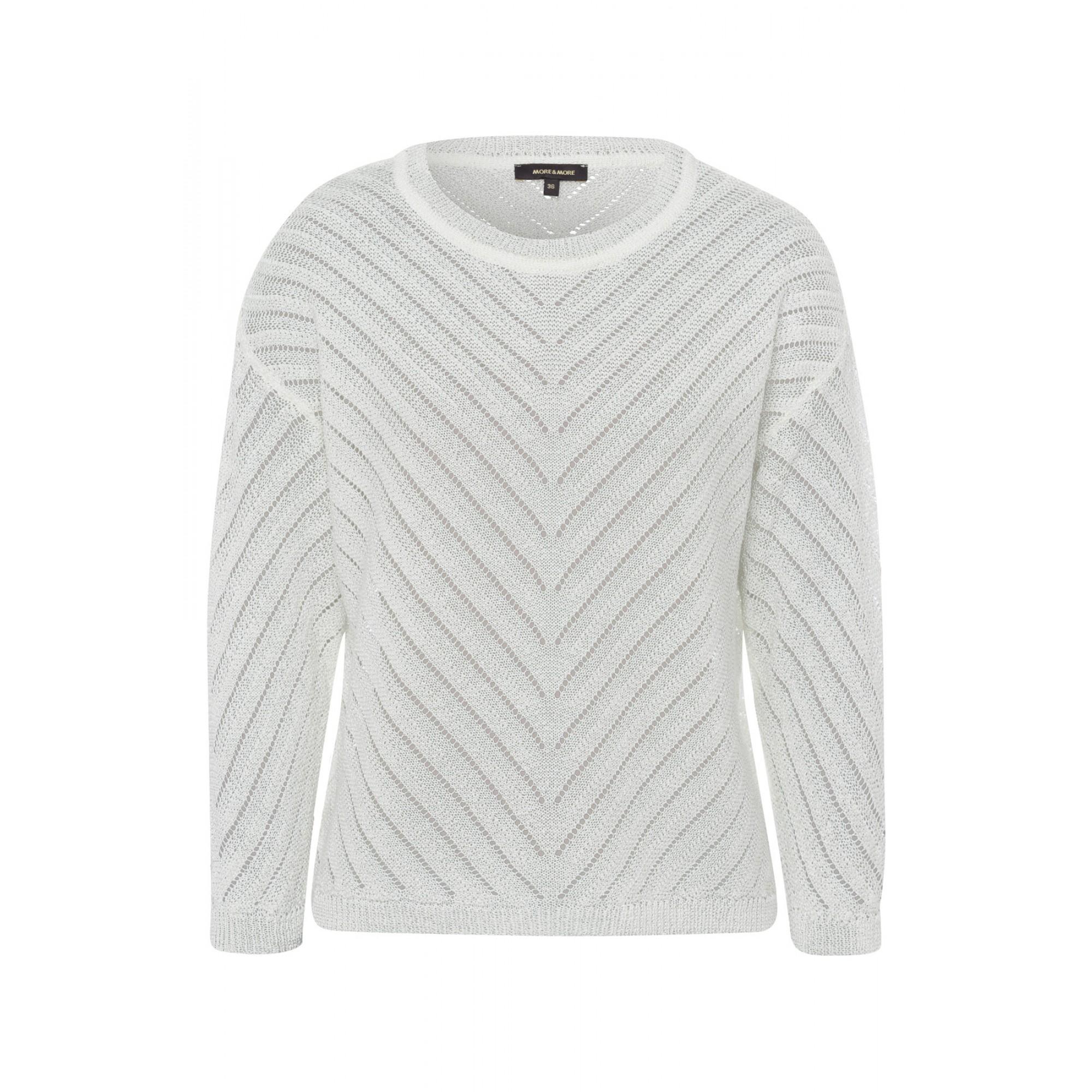 More & More Pullover mit Strukturstreifen weiß