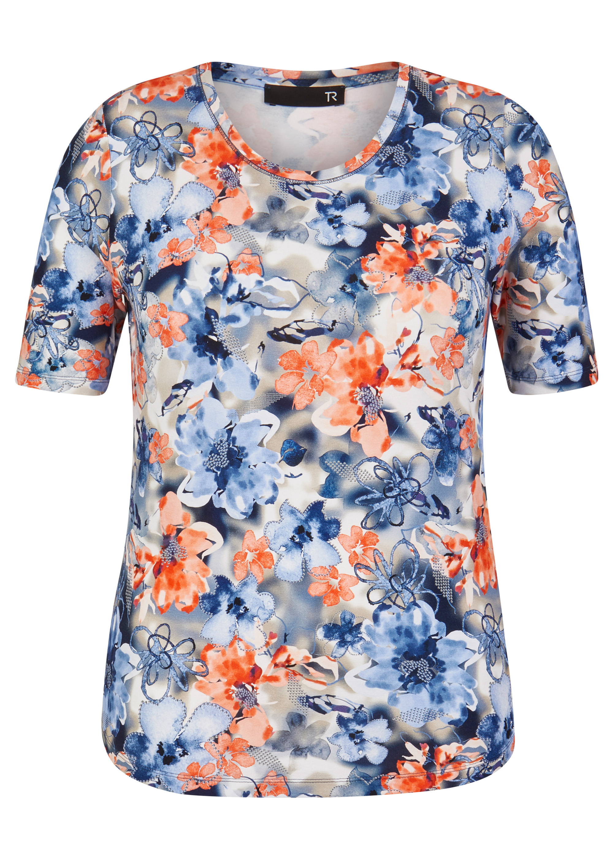 Rabe halbarm Shirt mit floralem Muster blau